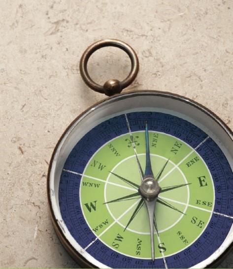 Kompas mit Tortenringen in blau, grün und hellgrün